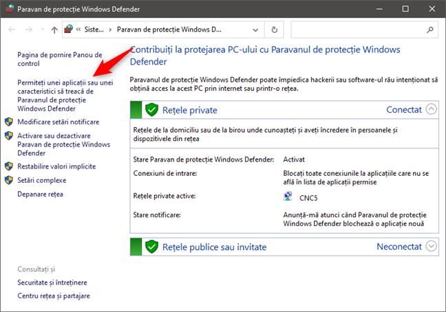 Permiteți unei aplicații sau unei caracteristici să treacă de Paravanul de protecție Windows Defender