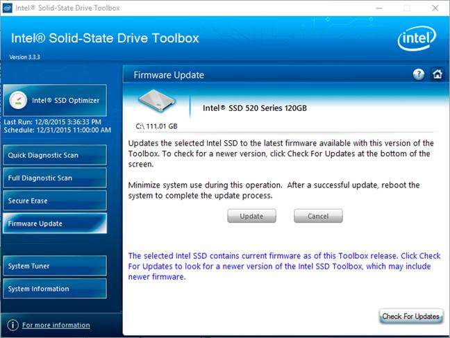 Intel Solid-State Drive Toolbox te ajută să faci upgrade de firmware pentru SSD-urile Intel