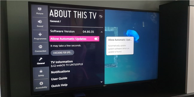 Actualizare firmware pe un smart TV LG