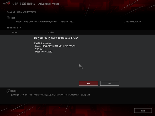 Actualizare de BIOS pentru o placă de bază ASUS