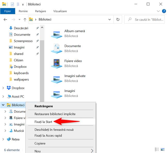 În Windows 10, poți fixa o scurtătură la Meniul Start din Acces rapid