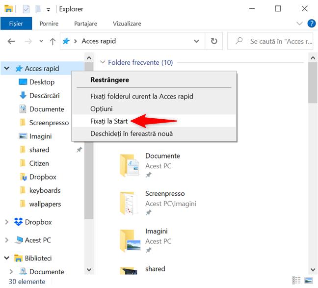 Adaugă Acces rapid la dalele fixate în Windows 10