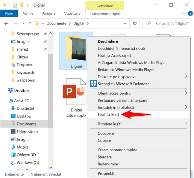 În Windows 10, fixează un folder la Start din meniul de clic dreapta