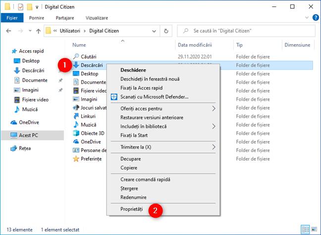 Deschidere Proprietăților unui folder de utilizator