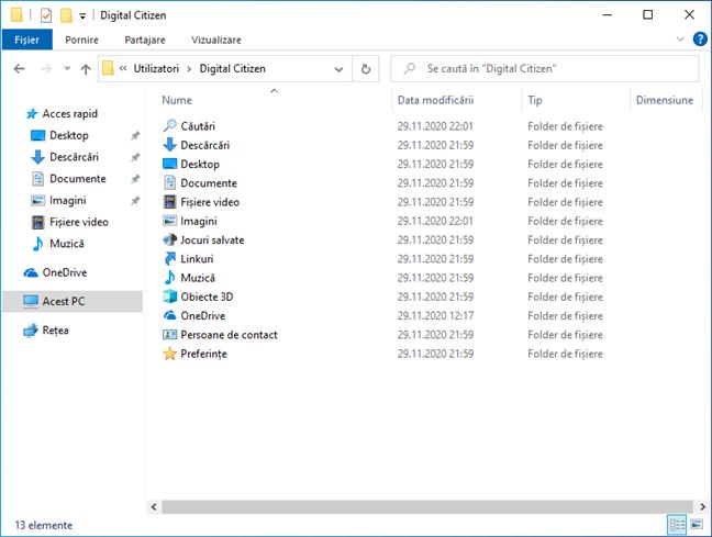 Foldere utilizator în Windows 10