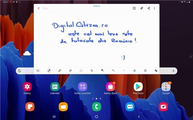 Scris de mână pe Samsung Galaxy Tab S7+ cu S Pen