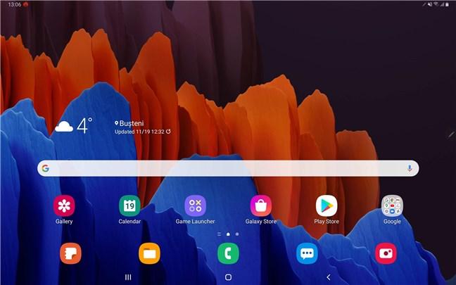 Ecranul de pornire al Samsung Galaxy Tab S7+
