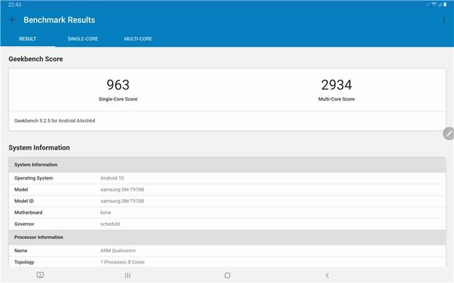 Samsung Galaxy Tab S7+ rezultate benchmark: Geekbench