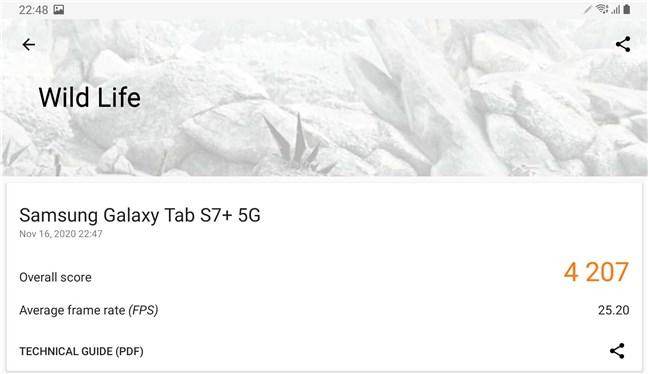 Samsung Galaxy Tab S7+ rezultate benchmark: 3DMark Wild Life