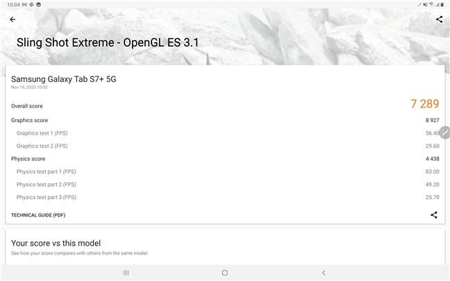 Samsung Galaxy Tab S7+ rezultate benchmark: 3DMark Sling Shot Extreme - OpenGL ES 3.1