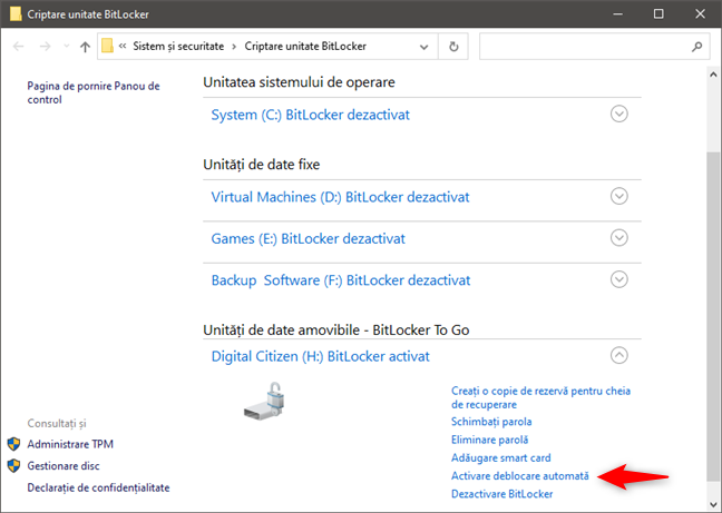 Activarea deblocării automate pentru o unitate criptată cu BitLocker