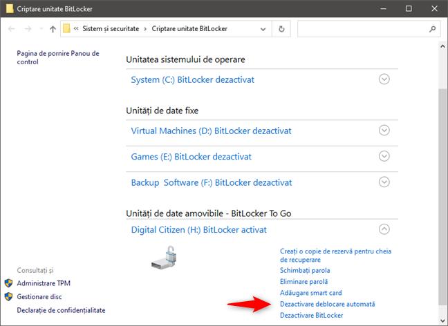 BitLocker: Dezactivare deblocare automată