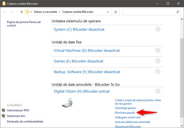 Eliminare parolă BitLocker