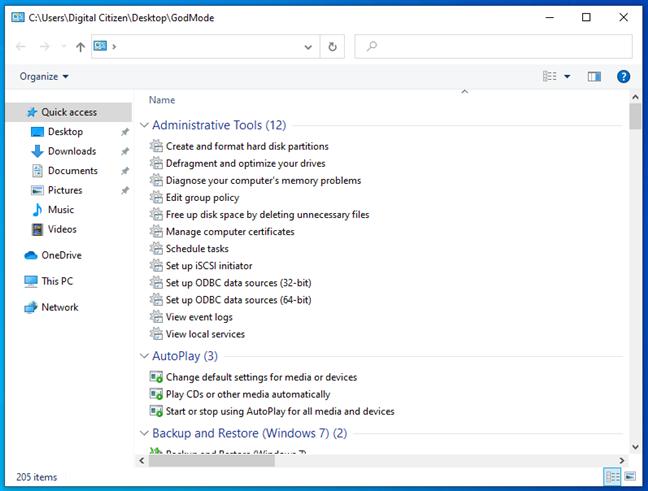 God Mode în Windows 10