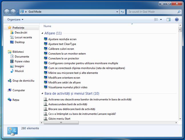 God Mode în Windows 7