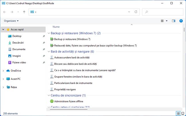 God Mode în Windows 11