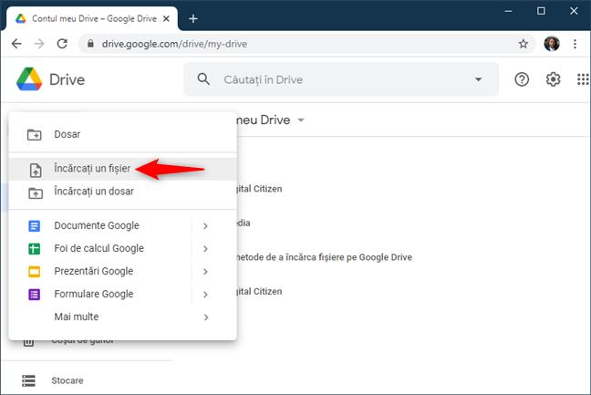 Opțiunea Încărcați un fișier din Google Drive