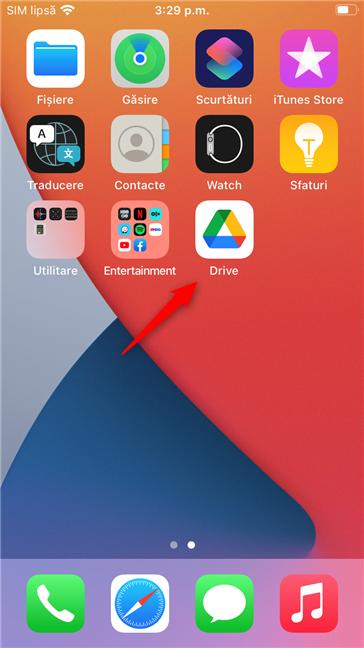 Aplicația Google Drive pe un iPhone