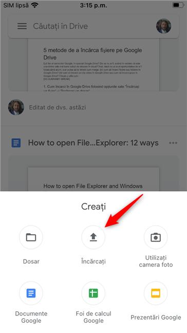 Butonul Încărcați din aplicația Google Drive pe un iPhone