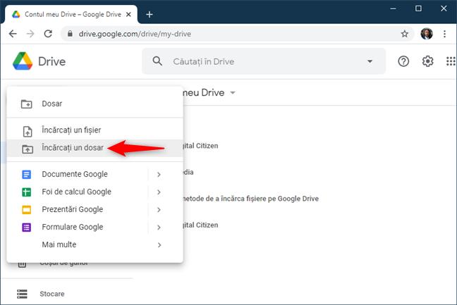 Opțiunea Încărcați un dosar din Google Drive