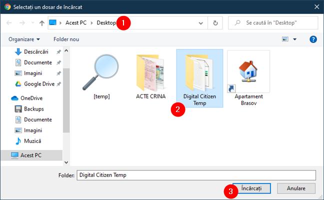 Selectarea folderului de încărcat în Google Drive