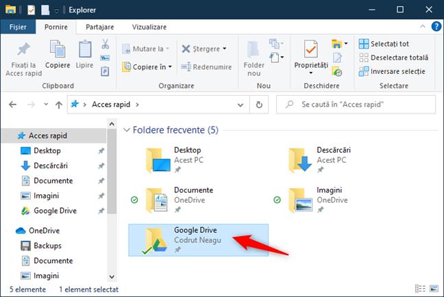 Folderul Google Drive pe un PC cu Windows 10