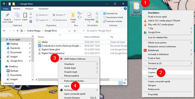 Copiere și lipire fișiere sau foldere în folderul Google Drive