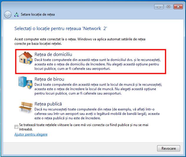 Pentru a folosi un Grup de domiciliu în Windows 7, trebuie să setezi locația rețelei la domiciliu