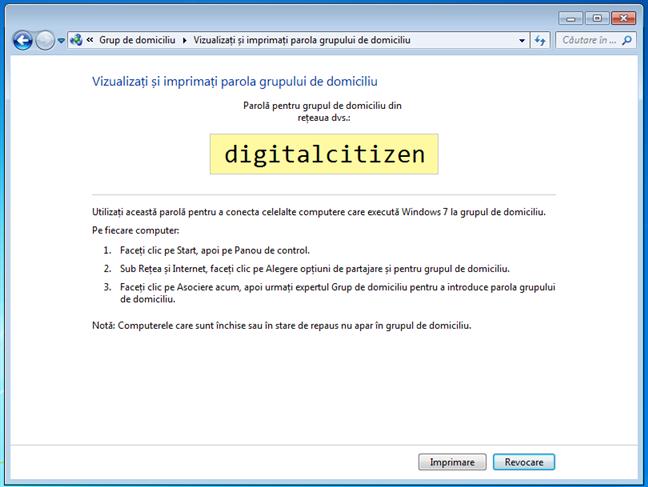 Parola Grupului de domiciliu din Windows 7