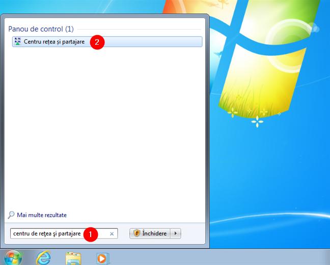 Cum deschizi Centrul rețea și partajare în Windows 7