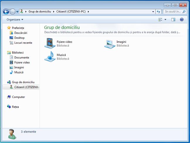 Ce a partajat un calculator cu Windows 7 în Grupul de domiciliu