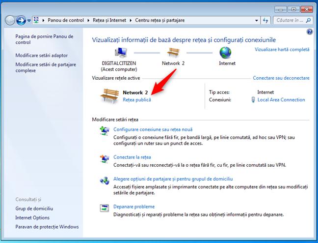 Setarea locației rețelei în domiciliu, în Windows 7