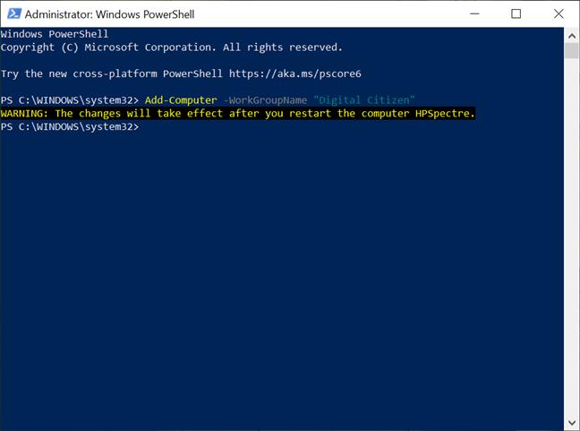 Introdu comanda în PowerShell pentru a modifica grupul de lucru