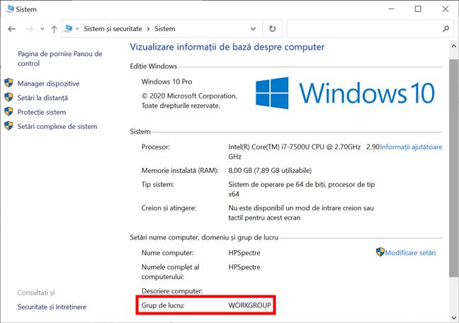 Verifică grupul de lucru din Windows 10 accesând Panoul de control