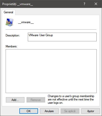 Grup de utilizatori __vmware__ user în Windows 10