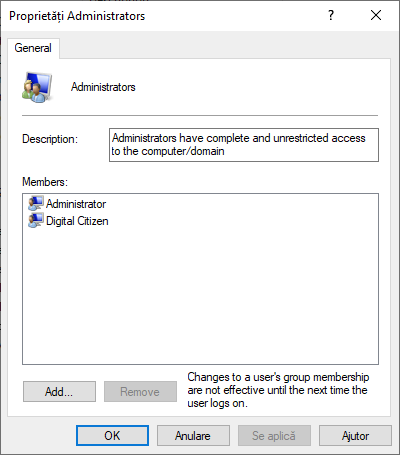 Grupul Administrators din Windows 10