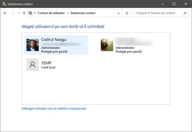 Listă conturi de utilizator în Windows 10