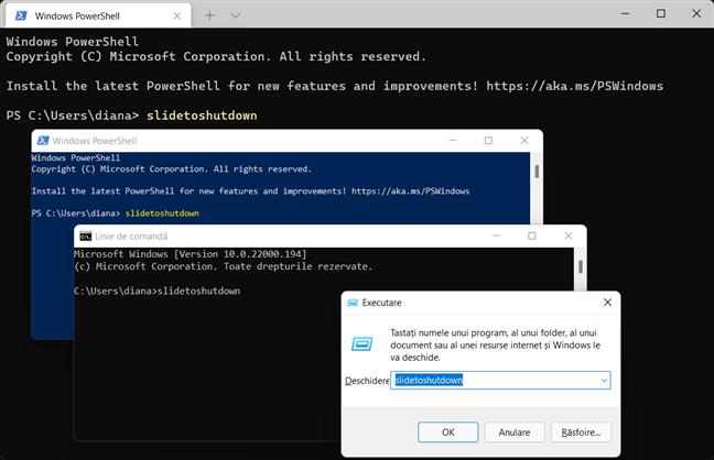 O altă comandă de închidere din Windows este slidetoshutdown