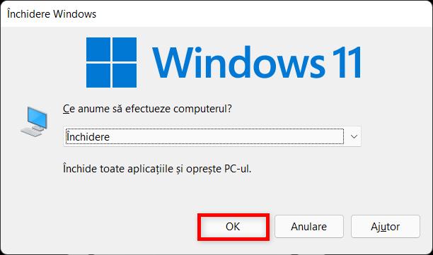 Folosește combinația de taste pentru închidere în Windows 11