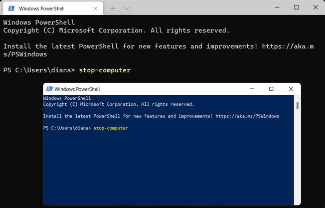 Folosește comanda de închidere Windows 11 pentru PowerShell și Windows Terminal