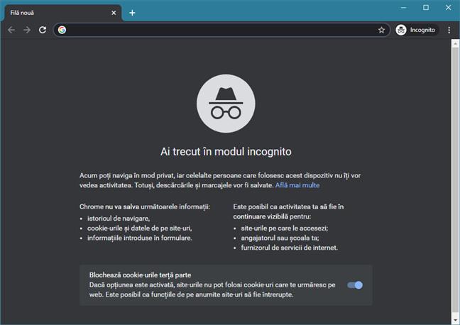 Mod Incognito în Google Chrome