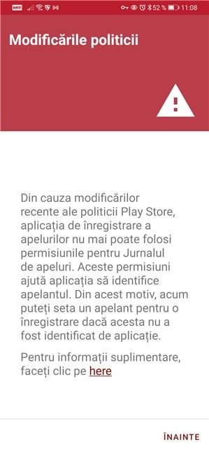 Permisiuni de înregistrare necesare în Android
