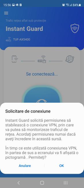 Aprobă solicitarea de conexiune VPN