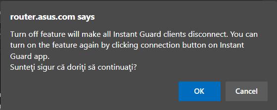 Confirmă că e OK să deconectezi clienții Instant Guard