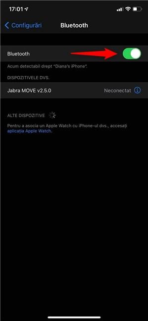 Activează setarea Bluetooth de pe iPhone sau iPad