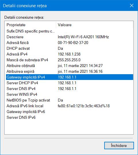 Vezi câmpul Gateway implicită IPv4