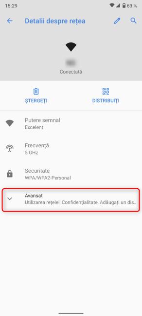 Apasă pe Avansat în Detalii despre rețea