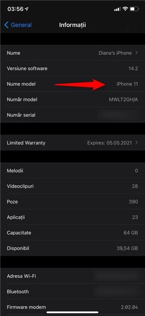 Verifică Nume model pentru a știi ce iPhone ai