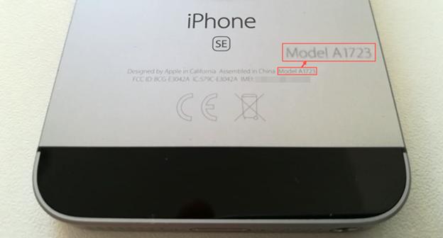 Numărul de Model inscripționat pe spatele unui iPhone SE mai vechi