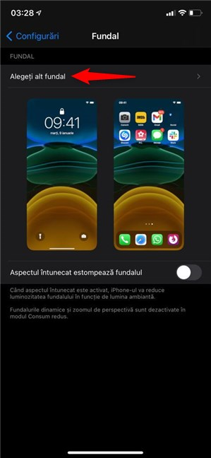 Apasă pentru a alege alt fundal pentru iPhone